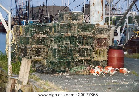 Stacks of lobster pots on New Bedford waterfront
