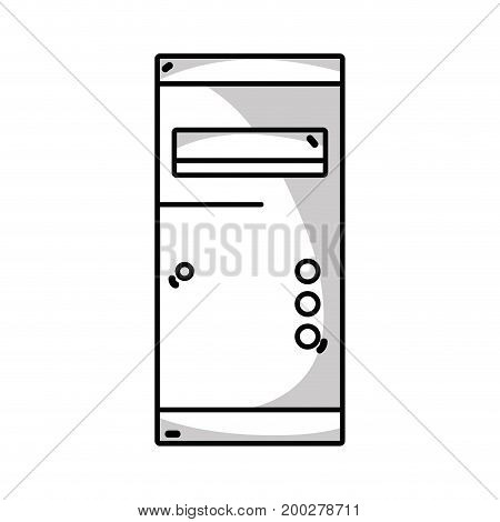 line technology hard drive electronic element vector illustration