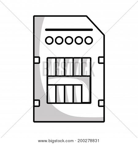 line technology micro sd data memory vector illustration