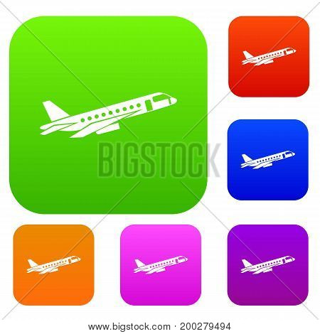 Airplane taking off set icon in different colors isolated vector illustration. Premium collection