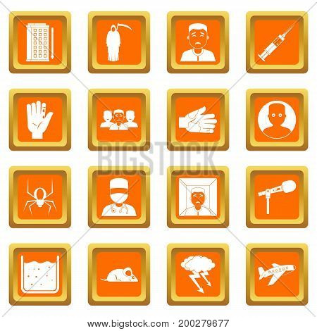 Phobia symbols icons set in orange color isolated vector illustration for web and any design