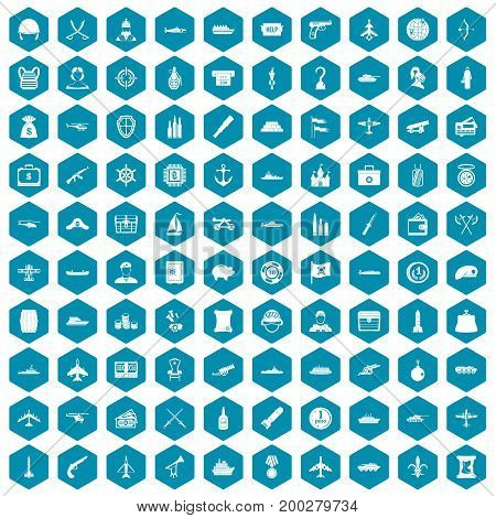 100 combat vehicles icons set in sapphirine hexagon isolated vector illustration