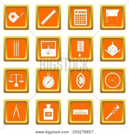 Measure precision icons set in orange color isolated vector illustration for web and any design