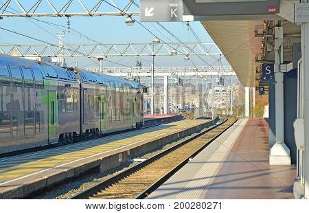 LYON, FRANCE - DECEMBER 10, 2016: French railway station and train SNCF in Lyon, France