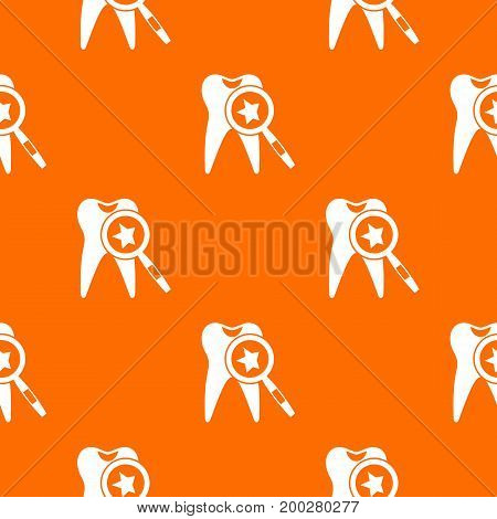 Tooth with magnifying glass pattern repeat seamless in orange color for any design. Vector geometric illustration