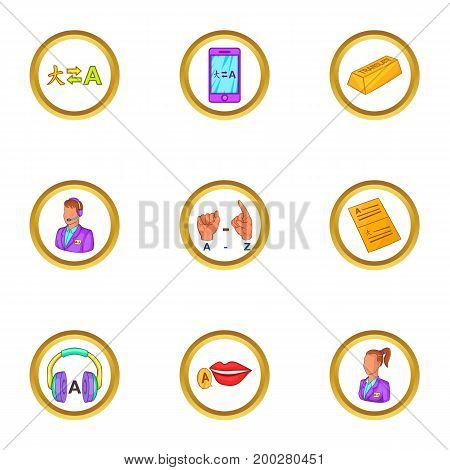 Translate icons set. Cartoon illustration of 9 translate vector icons for web design