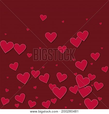 Red Stitched Paper Hearts. Bottom Gradient With Red Stitched Paper Hearts On Wine Red Background. Ve