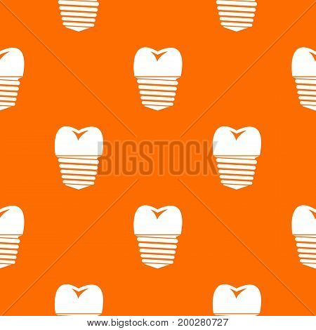 Tooth implant pattern repeat seamless in orange color for any design. Vector geometric illustration