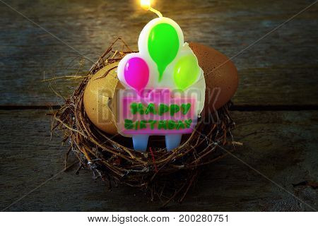 Shattered Eggshell With Nest And Candle For Happy Birthday Concept