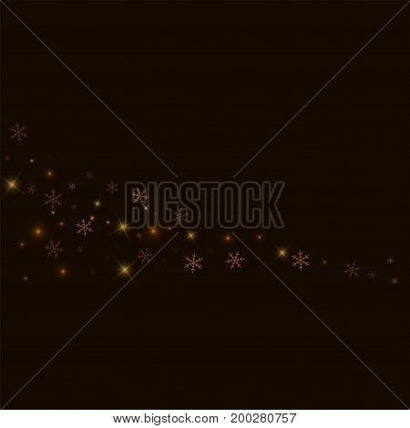 Sparse Starry Snow. Comet On Black Background. Vector Illustration.