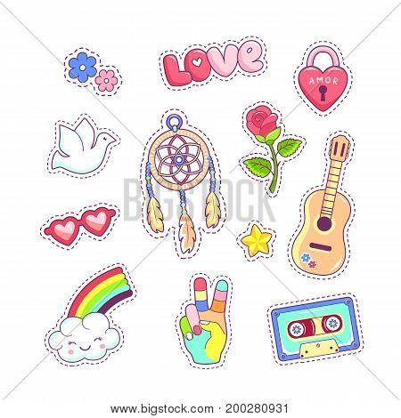 Hippie style badges patches and stickers with dreamcatcher guitar rainbow and dove