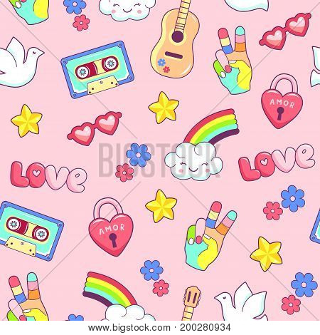 Hippie style seamless pattern with dreamcatcher guitar rainbow and dove