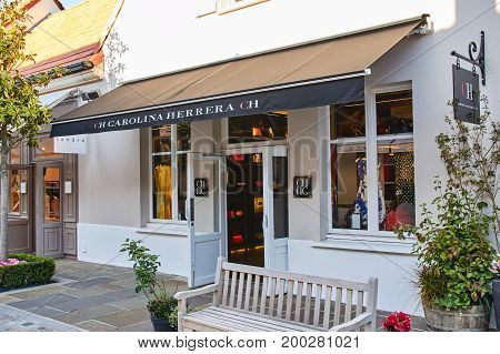 PARIS FRANCE - MAY 10 2017 : Carolina Herrera boutique in La Vallee Village