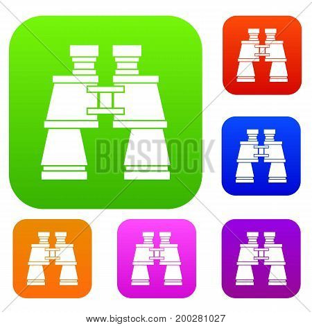 Binoculars set icon in different colors isolated vector illustration. Premium collection