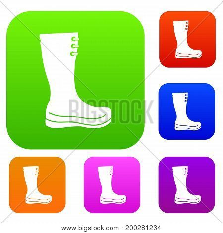 Rubber boots set icon in different colors isolated vector illustration. Premium collection