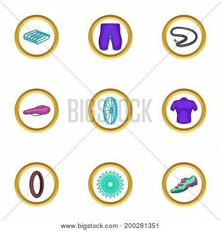 Bicycle icons set. Cartoon illustration of 9 bicycle vector icons for web design