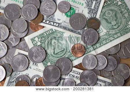 Close up of a pile of American currency