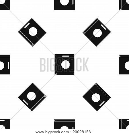 Paper bag pattern repeat seamless in black color for any design. Vector geometric illustration