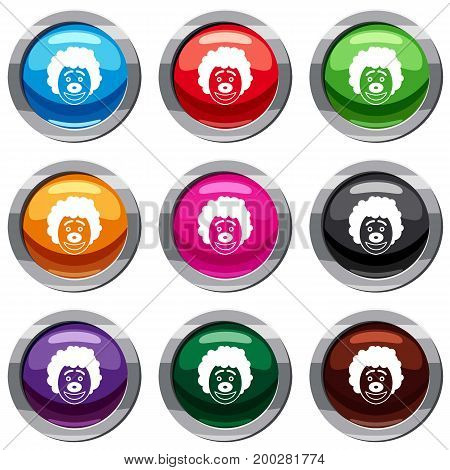 Clown head set icon isolated on white. 9 icon collection vector illustration