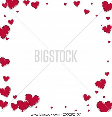 Cutout Red Paper Hearts. Corner Frame On White Background. Vector Illustration.