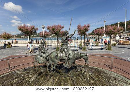 San Sebastian Spain - June 7 2017: Statue of Don Quixote and Sancho Panza on the promenade of San Sebastian Donostia. Basque country Spain