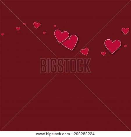 Cutout Red Paper Hearts. Top Wave On Wine Red Background. Vector Illustration.