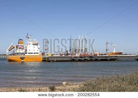 Oil tanker in the industrial port of Huelva Spain