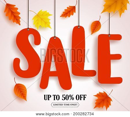 Autumn sale vector banner. Sale text in red color hanging with autumn leaves colorful elements for fall season marketing promotion. Vector illustration.