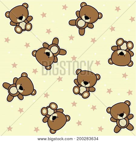 cute teddy bear seamless background with stars, design for baby and children