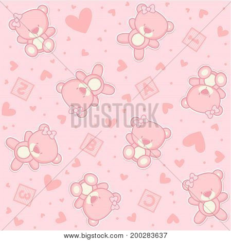 cute teddy bear seamless background with stars and alphabetical cubes, design for baby girl and children