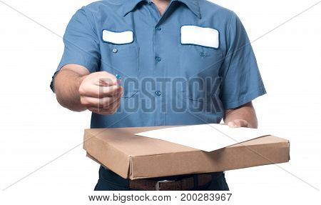 Delivery Man Handing Parcel Box To Recipient