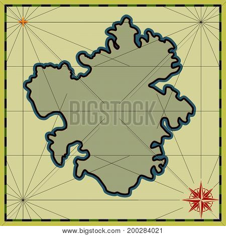 Preparation of a cartographic background with an empty map. Vector Vintage Illustration.