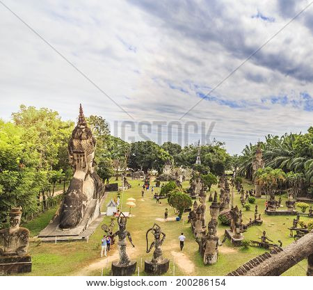 Hindu And Buddhist Statue In Xieng Khuan Temple Buddha Park ,  Vientiane Laos