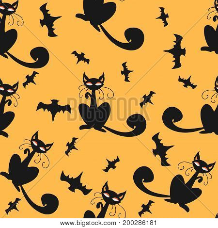 Seamless pattern of Halloween cats and bats in black, traditional orange background. Good for textile print, web, paper, wrapping, fabric, backgrounds, cards, postcards, page fill. Vector Illustration