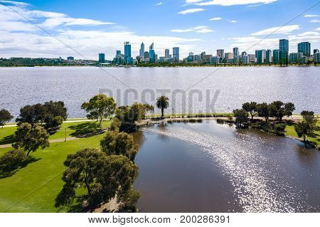 Aerial photograph overlooking South Perth and the skyline of Perth city in Western Australia, Australia.