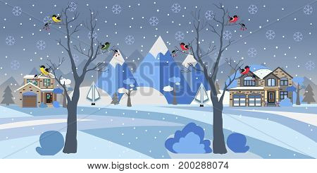 Winter Snowy Landscape with houses, trees and mountains. Suburban Buildings in Winter Landscape. Flat Vector Illustration. Detailed House Design. Two Tall Trees with birds are in front.