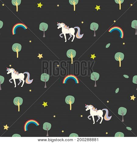 Unicorn Seamless pattern with trees, rainbows, stars and trees. Minimalism Modern Concept.