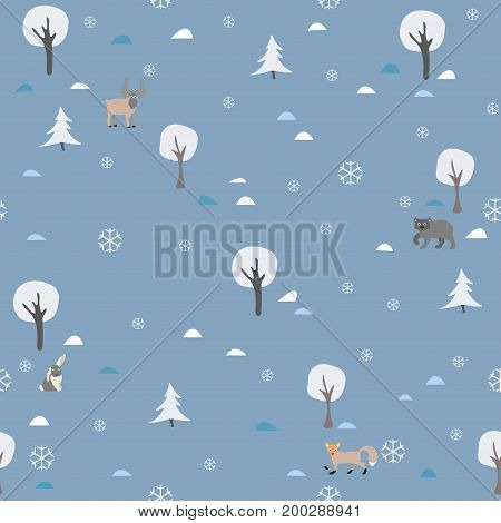 Winter Seamless Pattern with Animals. Winter/Merry Christmas Collection