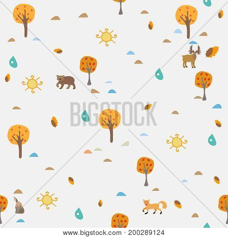 Autumn/Fall Seamless Pattern with forest animals, trees, sun, drops of rain and red berries .For backgrounds, wallpapers, fabric, prints, textiles, textures, wrapping, cards, cover.