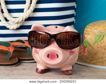 Happy Piggy Bank Wearing Sunglasses