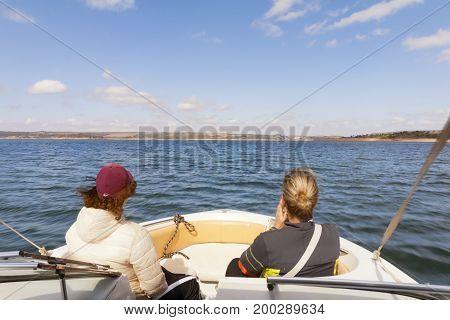 Furnas Dam in Minas Gerais Brazil Jul 11th 2017. Turists in motorboat Capitolio MG Brazil