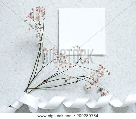 Creative flat lay design of card note with flower minimal style.