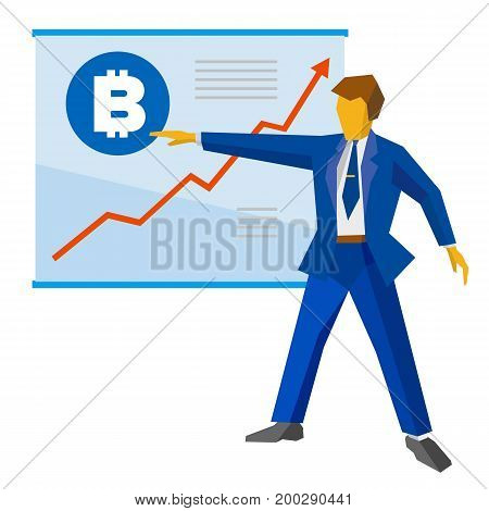 Businessman in blue suit shows a poster with bitcoin sign and growing charts. Growth cryptocurrency concept - success business, increase profit. Flat style vector clip art on white background.