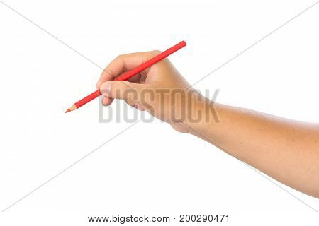 Men hand holding red pencil on isolated white background