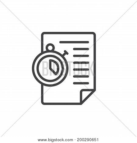 Paper document and stopwatch line icon, outline vector sign, linear style pictogram isolated on white. Time management symbol, logo illustration. Editable stroke. Pixel perfect vector graphics
