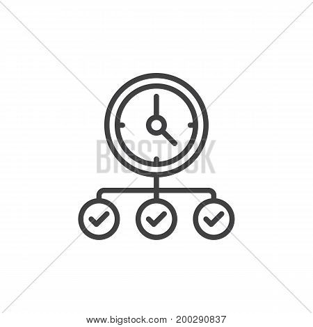 Clock with check marks line icon, outline vector sign, linear style pictogram isolated on white. Symbol, logo illustration. Editable stroke. Pixel perfect vector graphics