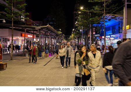 Gold Coast, Australia - July 8, 2017: busy street light on Cavill Avenue, the central pedestrian mall in Surfers Paradise.