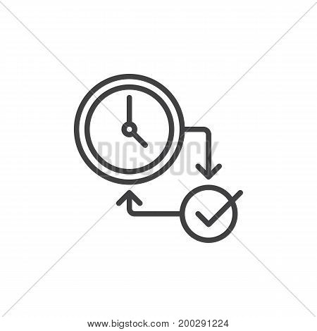 Clock and checkmark line icon, outline vector sign, linear style pictogram isolated on white. Symbol, logo illustration. Editable stroke. Pixel perfect vector graphics