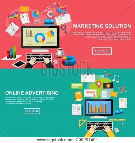 Flat design illustration concepts for marketing solution, online advertising, internet content, business statistics.