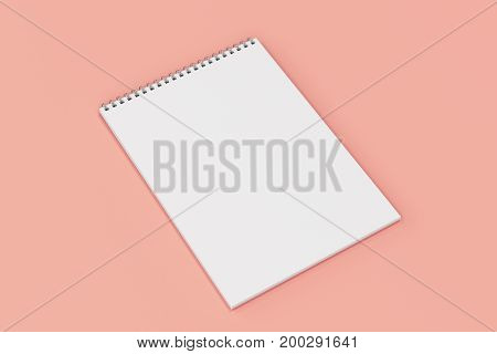 Blank White Notebook With Metal Spiral Bound On Red Background